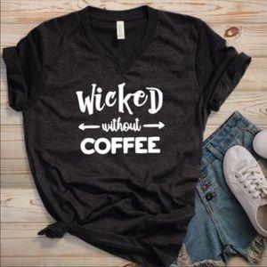 NEW Coffee Lovers TShirt Black Vneck Sz to 2XL